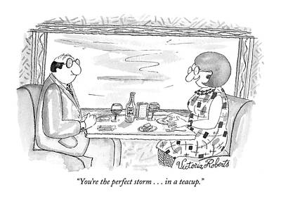 Perfect Storm Drawing - You're The Perfect Storm . . . In A Teacup by Victoria Roberts