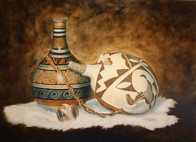 Painting - You Tube Video-indian Pots by Roena King