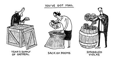 Tom-chitty Drawing - You've Got Mail -- A Triptych Of Strange Packages by Tom Chitty