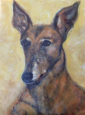 Retired Racer Dog Portrait Painting - Yoyo Jones by Diane Hagg