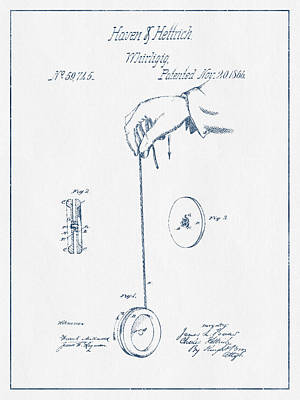 Yoyos Digital Art - Yoyo Patent Drawing From 1866 - Blue Ink by Aged Pixel