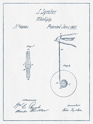 Yoyos Digital Art - Yoyo Patent Drawing From 1867 - Blue Ink by Aged Pixel