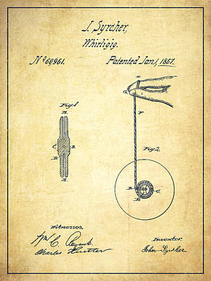 Yoyos Digital Art - Yoyo Patent Drawing From 1867 - Vintage by Aged Pixel