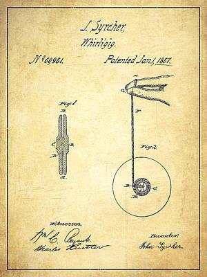 Yoyo Digital Art - Yoyo Patent Drawing From 1867 - Vintage by Aged Pixel