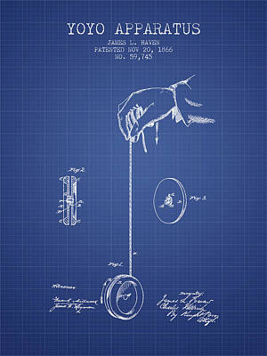 Yoyos Digital Art - Yoyo Patent From 1866 - Blueprint by Aged Pixel