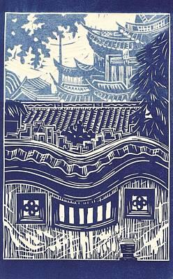 Linoleum Drawing - Yu Garden Rooftops by Jennifer Harper