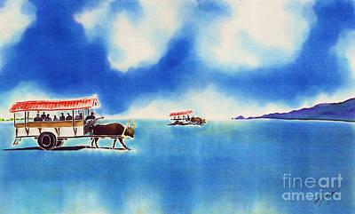 Painting - Yubu Island-water Buffalo Taxi  by Hisayo Ohta