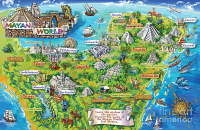 Recently Sold - Fantasy Royalty-Free and Rights-Managed Images - Yucatan Map Illustration by Maria Rabinky