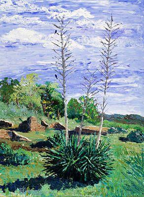 Pallet Knife Painting - Yucca At The Ruins by Timithy L Gordon