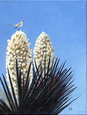 Yucca With Mockingbird Original by Sue Sill