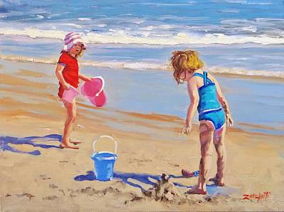 Children Playing On Beach Painting - Yuck by Laura Lee Zanghetti