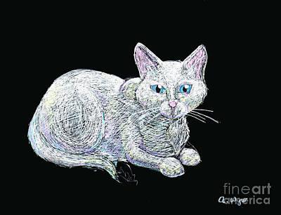 Gel Pen Drawing - Yuki On Black by Angela Bingham