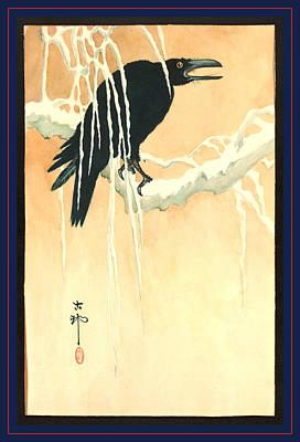 Blackbird Drawing - Yuki Yanagi Ni Karasu, Ikeda 1 Print  Woodcut by Koson, Ohara (1877-1945), Japanese
