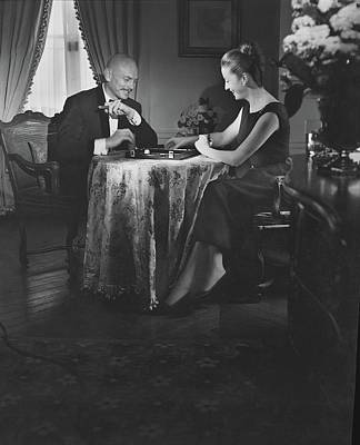 Yul Brynner Playing Backgammon With His Wife Art Print