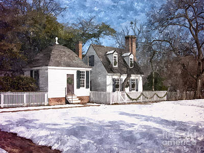 Yule Cottage Art Print by Shari Nees