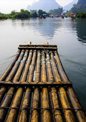 Photograph - Yulong River Bamboo Raft by Karen Saunders