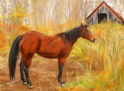 Bay Thoroughbred Horse Painting - Yuma- Stunning Horse In Autumn by Lourry Legarde