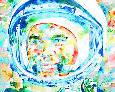 Painting - Yuri Gagarin - Watercolor Portrait by Fabrizio Cassetta