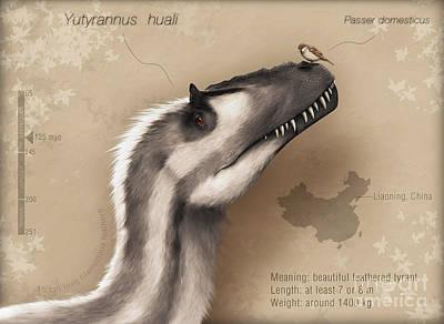 Headshot Digital Art - Yutyrannus Huali Is A Feathered by Christian Masnaghetti