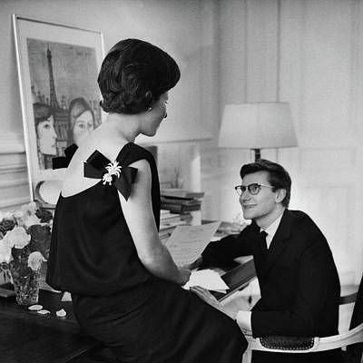 Yves St. Laurent With His Mother Art Print by Willy Rizzo