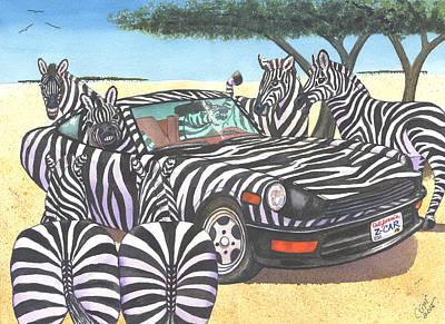 Zebra Painting - Z-car by Catherine G McElroy