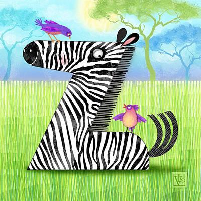 Animal Alphabet Digital Art - Z Is For Zebra by Valerie Drake Lesiak