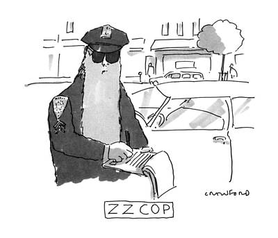 Cop Drawing - Z Z Cop by Michael Crawford
