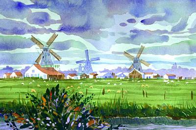 Zaanse Schans Windmills Art Print by Lee Klingenberg