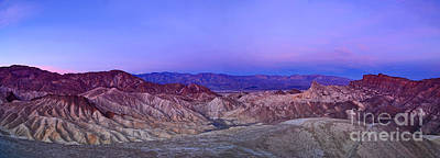 Dry Creek Photograph - Zabriskie Sunrise Panorama - Death Valley National Park. by Jamie Pham