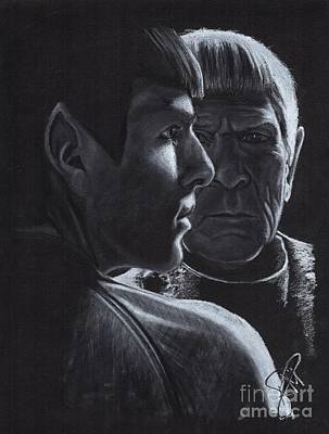 Drawing - Zachary Quinto And Leonard Nimoy by Rosalinda Markle