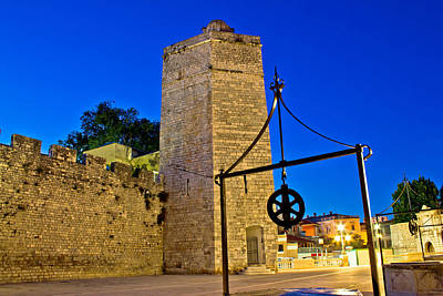 Wellspring Photograph - Zadar Stone Tower Night View by Brch Photography
