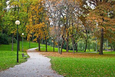Photograph - Zagreb Autumn Park Walkway Croatia by Brch Photography
