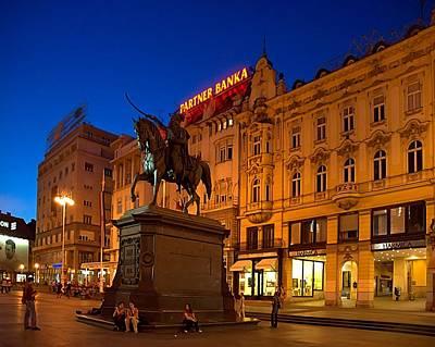 Zagreb Ban Jelacic Square At Night Art Print by Steven Richman