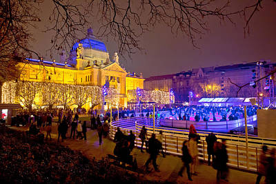 Photograph - Zagreb Christmas Ice Park Evening View by Brch Photography