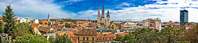 Photograph - Zagreb Cityscape Panoramic View At Old Town Center by Brch Photography
