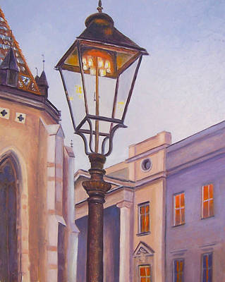 Croatia Painting - Zagreb Gaslight - Croatia by Jan Matson