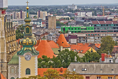 Photograph - Zagreb Rooftips And Church Tower by Brch Photography