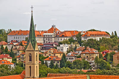 Photograph - Zagreb Rooftops And Church Tower by Brch Photography