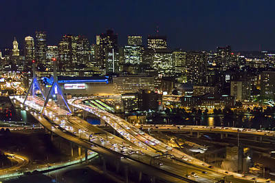 Photograph - Zakim And Boston At Night by Dave Cleaveland