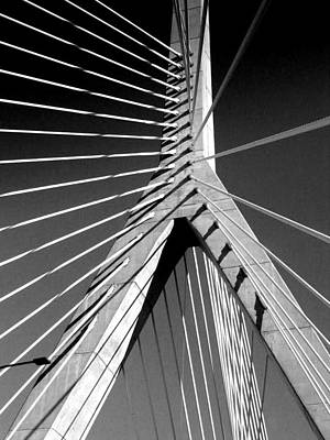 Photograph - Zakim Bridge 2 Black And White by Mary Bedy