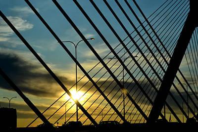 Photograph - Zakim Bridge At Sunset by Nadalyn Larsen