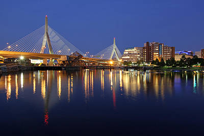 Charles River Photograph - Zakim Bridge In Boston by Juergen Roth