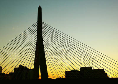 Charles River Photograph - Zakim Bridge Silhouette by Nikolyn McDonald