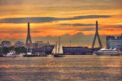 Photograph - Zakim Bridge Sunset - Boston by Joann Vitali
