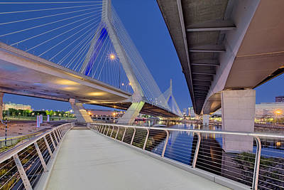 Photograph - Zakim Bridge Twilight In Boston by Susan Candelario