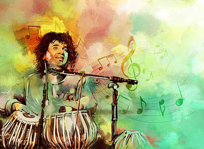 Painting - Zakir Hussain by Catf
