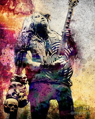 80s Painting - Zakk Wylde - Ozzy Osbourne  by Ryan Rock Artist