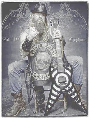 Zakk Wylde 2 Art Print by Robert Rhoads