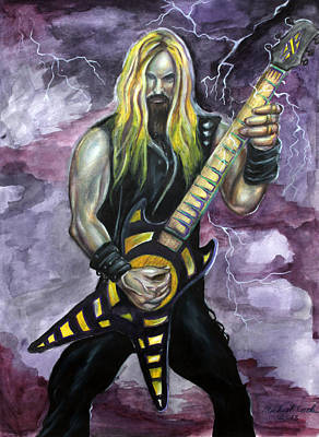 Heavy Metal Painting - Zakk Wylde Number Two by Michael Cook