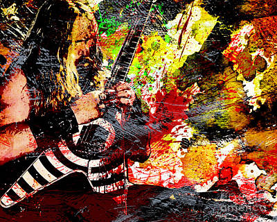 Randy Rhoads Painting - Zakk Wylde - Ozzy Osbourne - Horizontal Art Print by Ryan Rock Artist